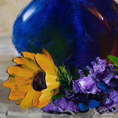 sunflower textured palette knife painting wall decor