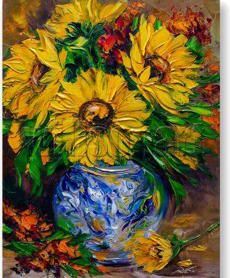 sunflower vase canvas oil painting textured palette knife