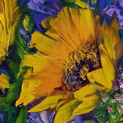 sunflower vase flower oil painting textured palette knife
