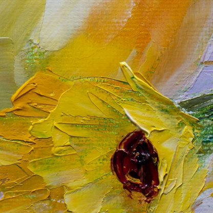 sunflower vase textured palette knife canvas oil painting 12x16inches