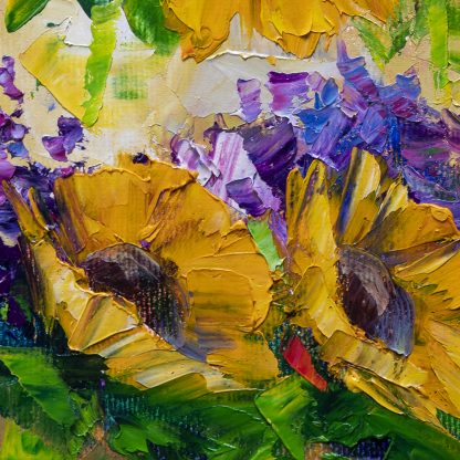 sunflower yellow flower textured palette knife canvas oil painting 16x20inches