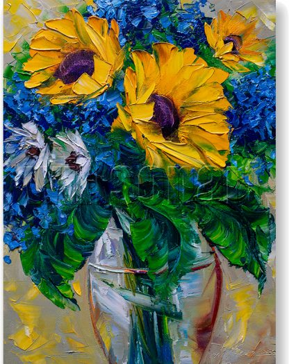 sunflower yellow textured palette knife canvas oil painting 12x16inches