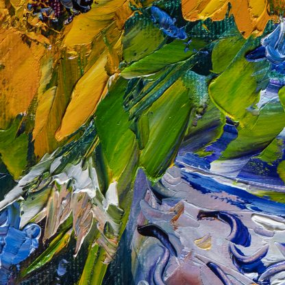 sunflower yellow textured palette knife oil painting home decor
