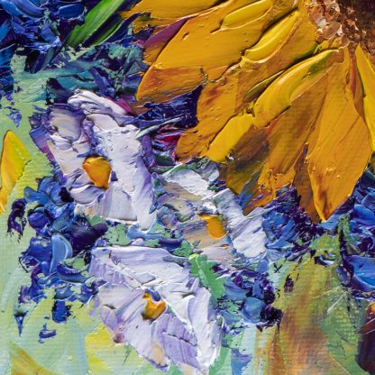 sunflower yellow textured palette knife oil painting wall art
