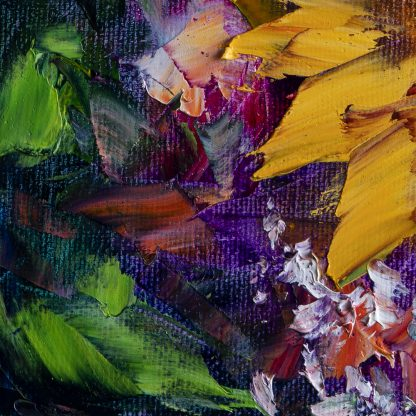 sunflower yellow textured palette knife oil painting wall decor