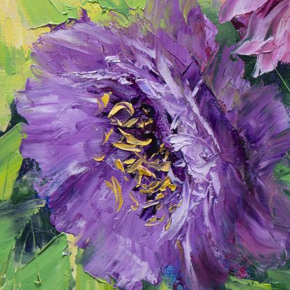 textured palette knife canvas oil painting peony