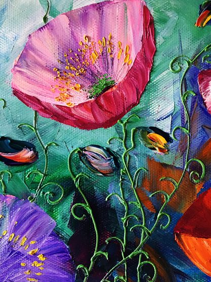 textured palette knife canvas oil painting red poppy