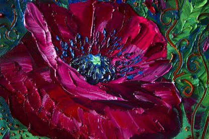 textured palette knife canvas oil painting red poppy wall decor 12x16inches