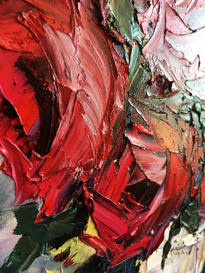 textured palette knife canvas oil painting red rose wall decor 12x16inches