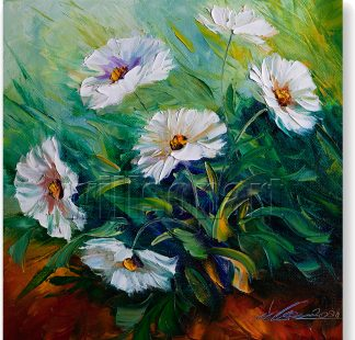 textured palette knife daisy oil painting 12x12inches