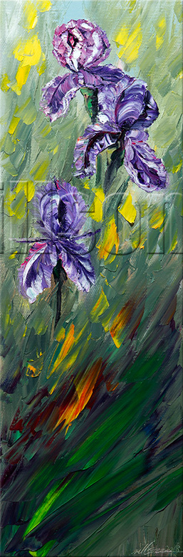 textured palette knife flower oil painting iris home decor 12x36inches