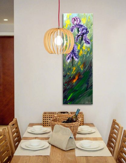 home decor textured palette knife flower oil painting iris home decor 12x36inches