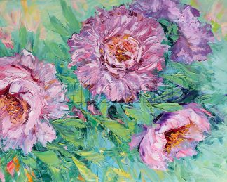 textured palette knife oil painting peony wall art