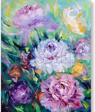 textured palette knife oil painting peony wall decor