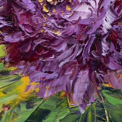 textured palette knife peony canvas oil painting 12x16inches