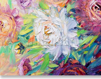 textured palette knife peony oil painting home decor 12x16inches
