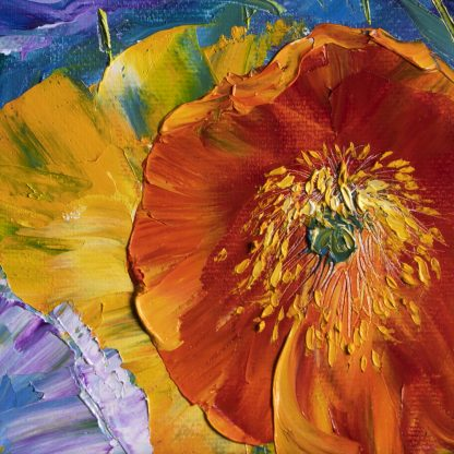 textured palette knife poppy field oil painting 16x16inches