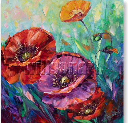 textured palette knife poppy field oil painting wall art 16x16inches