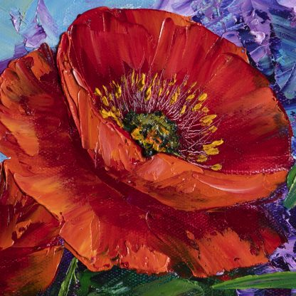 textured palette knife poppy field red flower oil painting 12x20inches