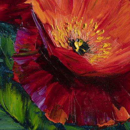 textured palette knife poppy field red flower oil painting 16x20inches