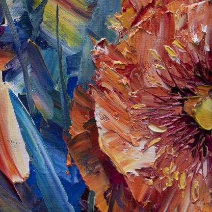 textured palette knife poppy oil painting 16x20inches