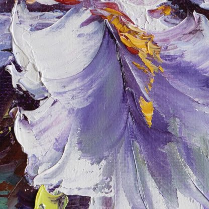 textured palette knife purple iris oil painting 16x20inches