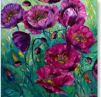 textured palette knife purple poppy field oil painting 20x20inches