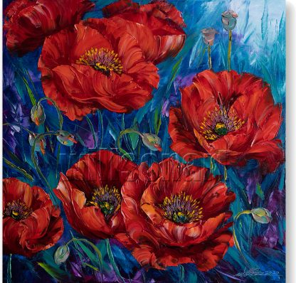 textured palette knife red poppy field canvas oil painting 20x20inches
