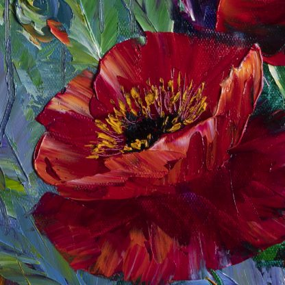 textured palette knife red poppy field oil painting 16x20inches