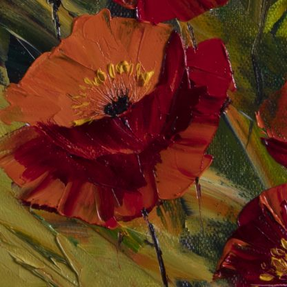 textured palette knife red poppy field oil painting 20x20inches