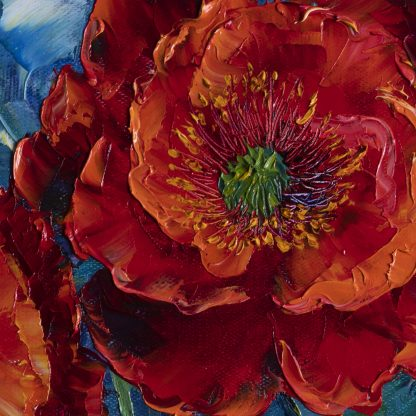 textured palette knife red poppy field oil painting wall art 20x20inches