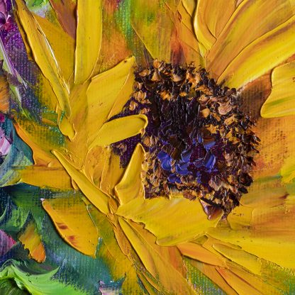 textured palette knife sunflower blue vase oil painting 16x16inches
