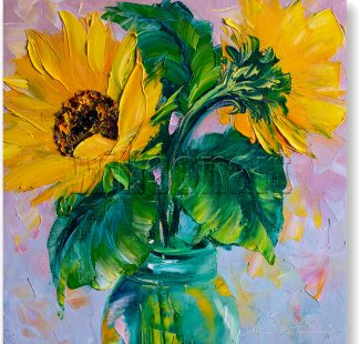 textured palette knife sunflower oil painting 12x12inches