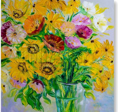 textured palette knife sunflower oil painting 24x24inches