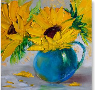 textured palette knife sunflower oil painting blue vase 12x12inches