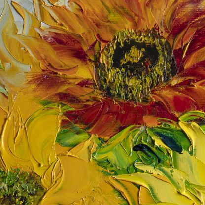 textured palette knife sunflower yellow flower oil painting 24x24inches