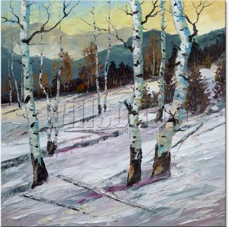 winter forest birch oil painting