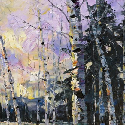 winter landscape birch painting